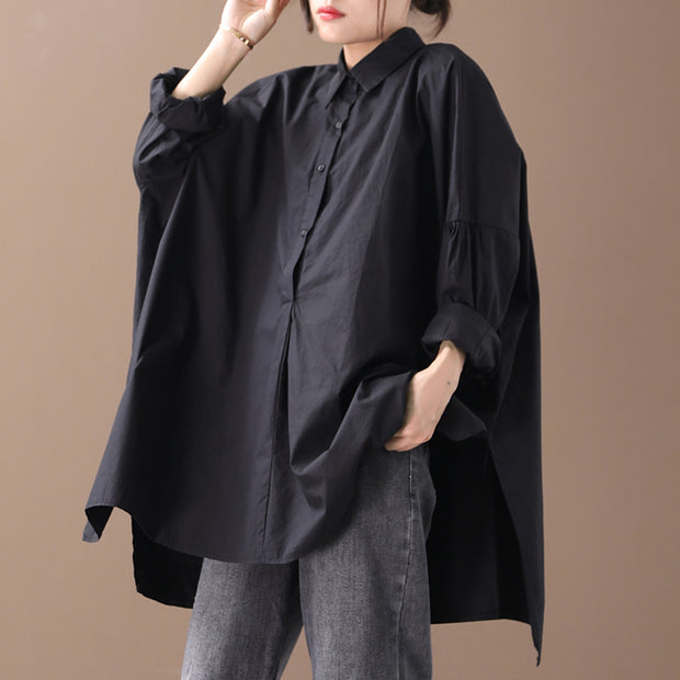 Buykud Solid Color Irregular Split Hem Pullover Shirt