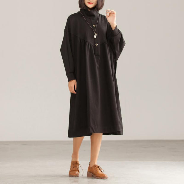 Cotton Solid Black Loose A-Line Long Sleeve Dress