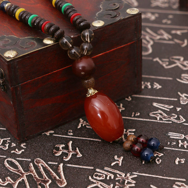 Casual Wooden Bead Ethnic Women Retro Necklaces - Buykud