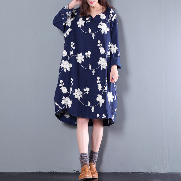 Navy Blue Women Print Spring And Autumn Long Sleeve Loose Dress