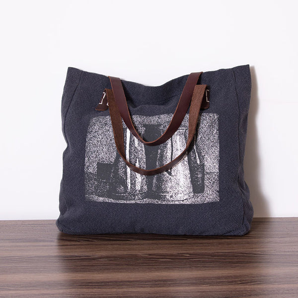 Women linen leather bag