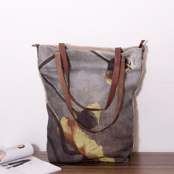 Linen Women Casual Leather Bag