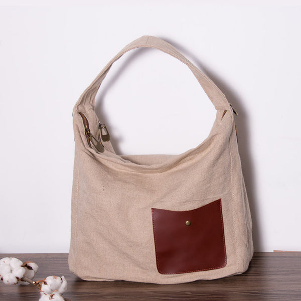 Casual Women Canvas Leather Messenger Bag - Buykud