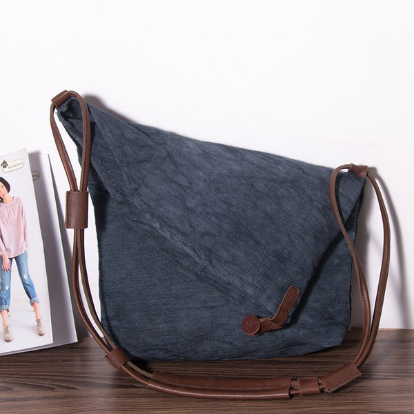 Women Canvas Casual Leather Blue Shoulder Bag - Buykud