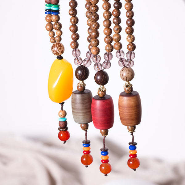 Ethnic Women Vintage Wood Beads Necklaces