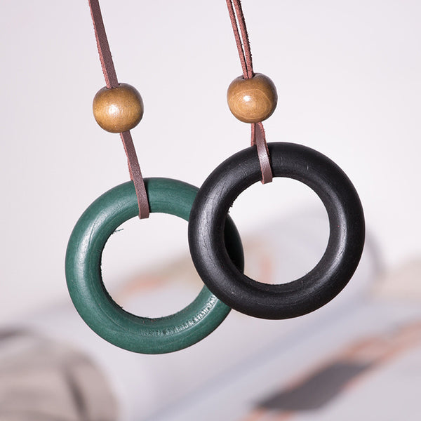 Vintage Women Retro Wooden Circle Necklace - Buykud