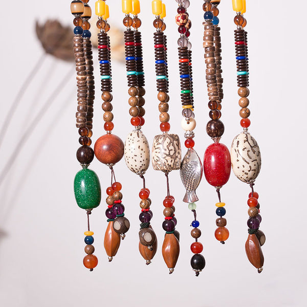 Wood  Ethnic Women Vintage Spherical Beads Necklaces