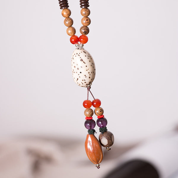 Women Wood Ethnic Vintage Beads Necklaces