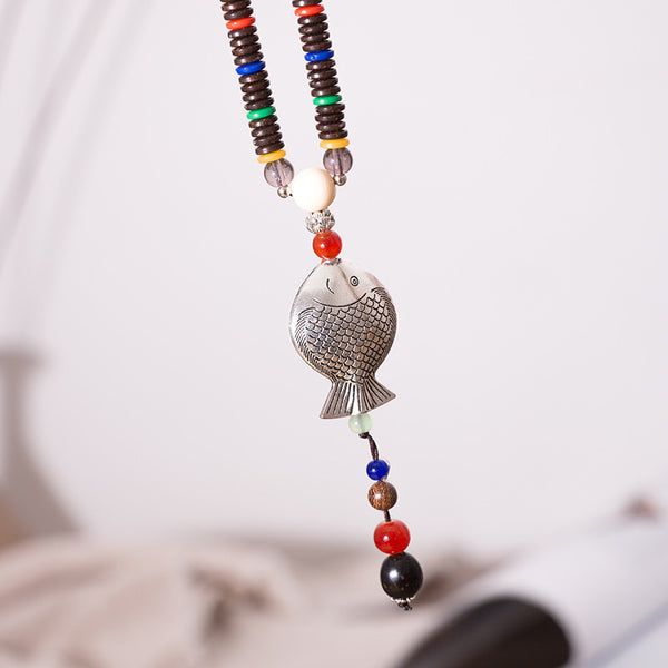 Wood Ethnic Women Vintage Fish Beads Necklaces