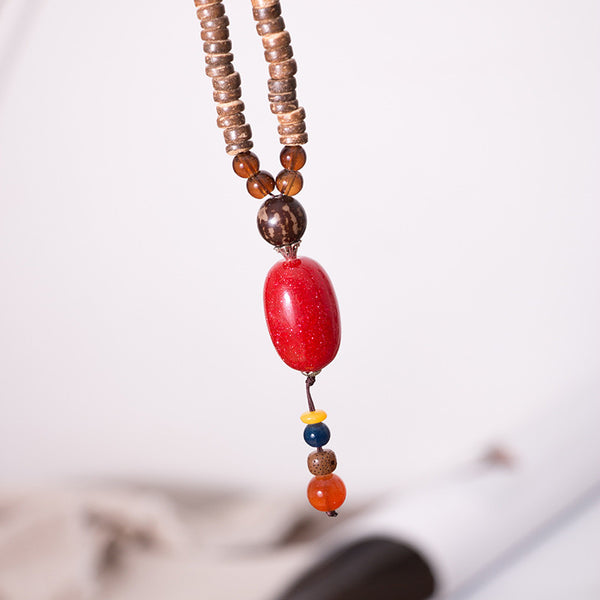 Women Wood Vintage Beads Necklaces