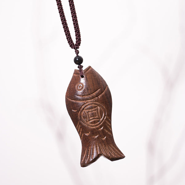 Vintage Ethnic Women Wooden Fish Necklaces