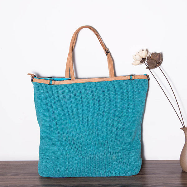 Casual Knitting Women Blue Shoulder Bag