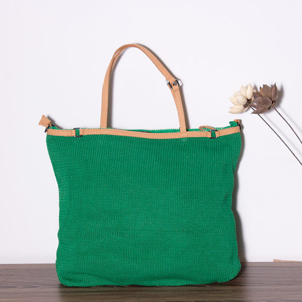 Casual Knitting Women Green Shoulder Bag