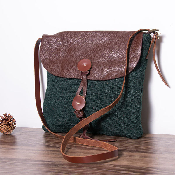 Canvas Leather Women Green Messenger Bag - Buykud