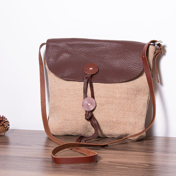 Canvas Leather Women Beige Messenger Bag