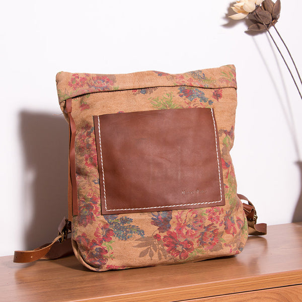 Casual Floral Women Canvas Backpack