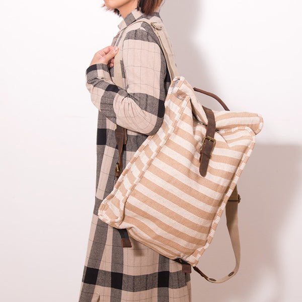 Women Casual Canvas Beige Stripe Backpack