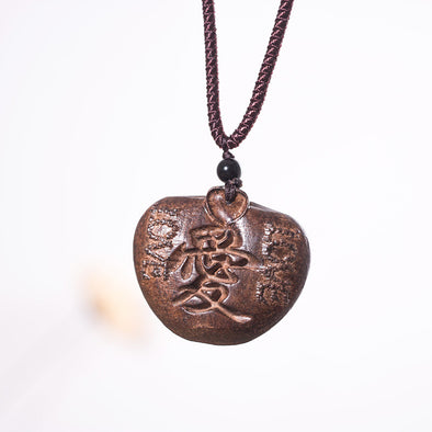 Wooden Apple Pendant Retro Women Necklace - Buykud