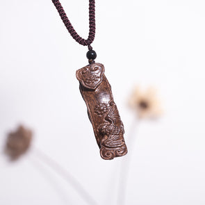 Ethnic Wooden Peanut Pendant Retro Women Necklace - Buykud