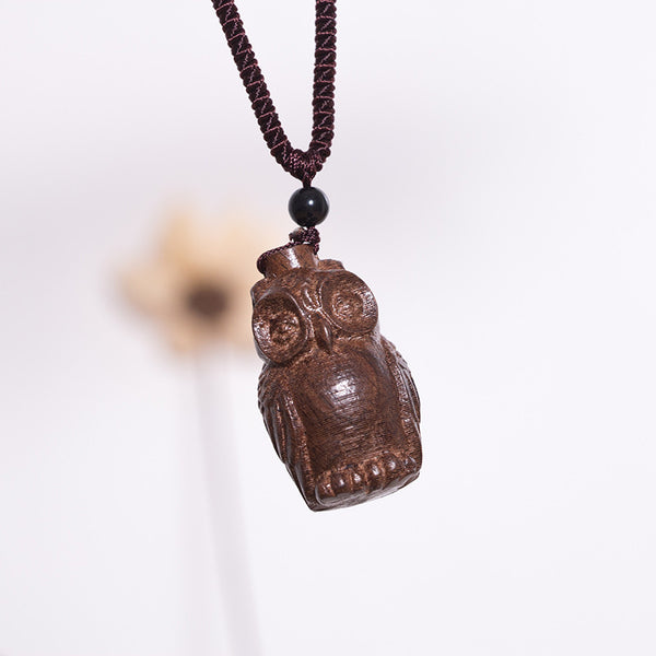Ethnic Casual Wooden Owl Pendant Women Necklace