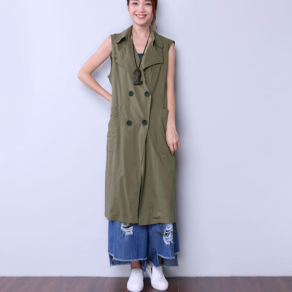 Solid Casual Button Pocket Women Army Green Coat