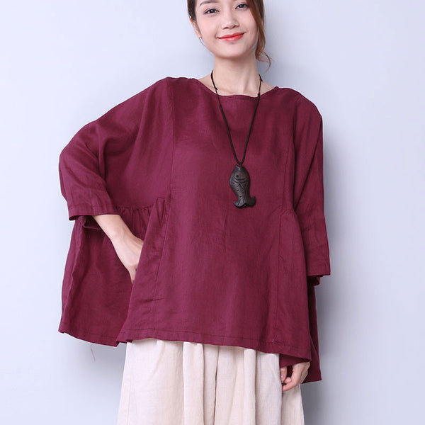 Loose Casual Simple Women Folded Purple Red Shirt
