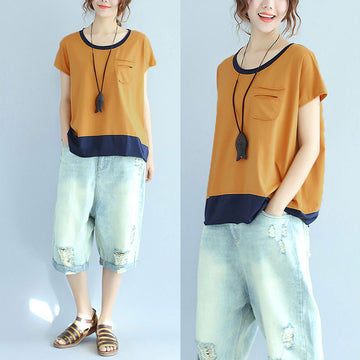 Cotton Women Summer Loose Casual Splicing Yellow Shirt - Buykud