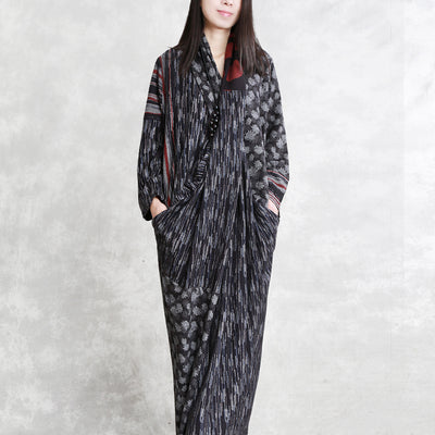 Women Vintage Irregular Split Draped Maxi Dress