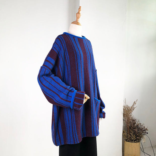 Loose Stripe Pullover Round Neck Sweater