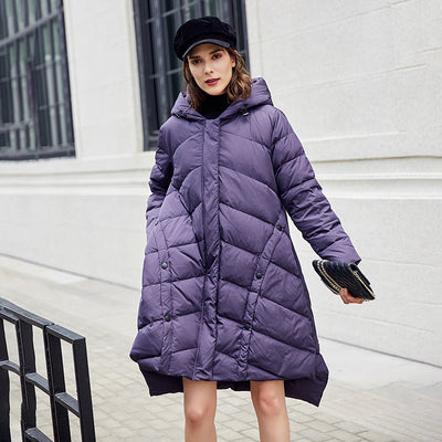 Winter Hoody Zipper Up High-low Hem Down Coat