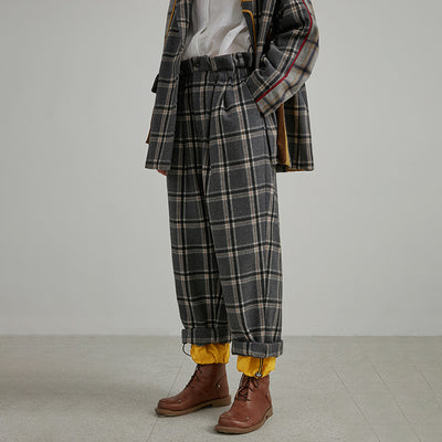 Plus Size Fake Two Pieces Plaid Wool Polyester Vintage Pants