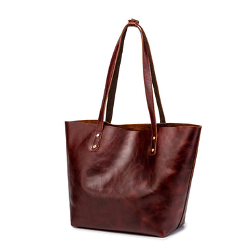 Simple Solid Color Leather Tote Bag - Brown