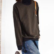 Casual Single Pocket Checks Sweatshirt