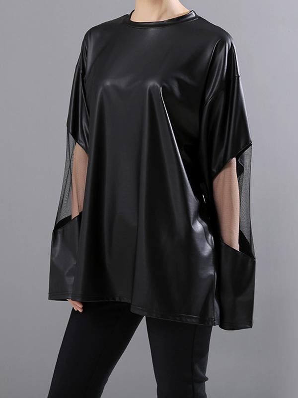 Sleeve Gauze Stitching Streetwear Top