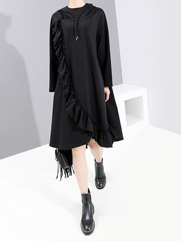 Ruffled Lace Pure Color Hooded Dress