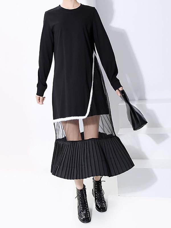 Streetwear Transparent Spliced Pleated Dress