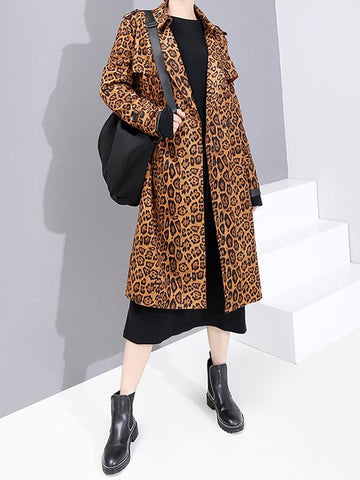 Stylish Long Leopard Trench Coat