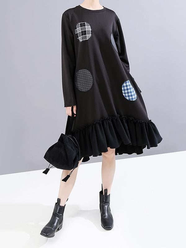Round Patchwork Casual Spliced Dress
