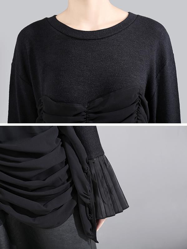 New Pleated Stitching Long Sleeve Dress