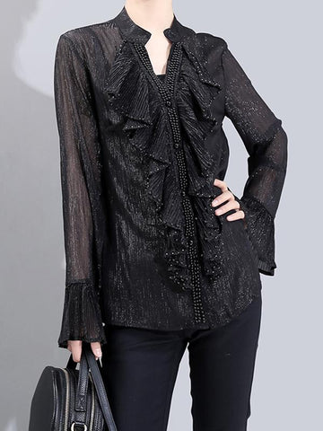 Sequin Long Sleeve Ruffle Shirt