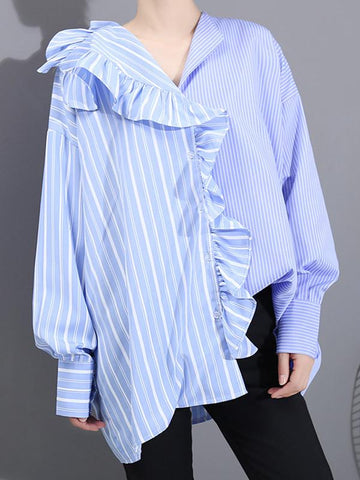 Striped Ruffled Shirt For Ladies