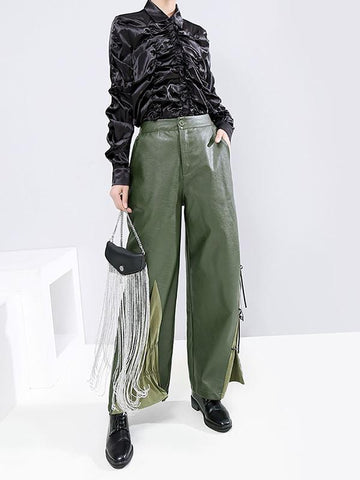 Ribbon Casual Splicing PU Pants