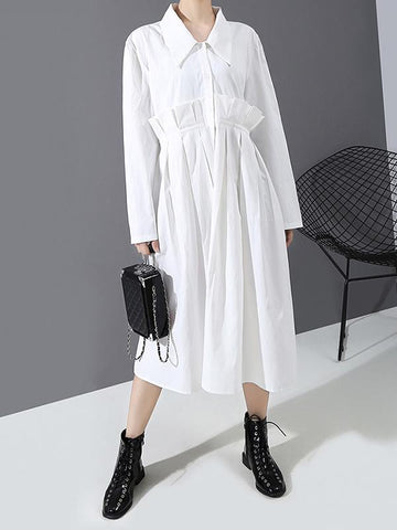 Simple Solid Color Pleated Shirt Dress