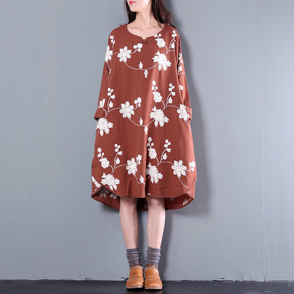Women Print Spring And Autumn Long Sleeve Loose Dress