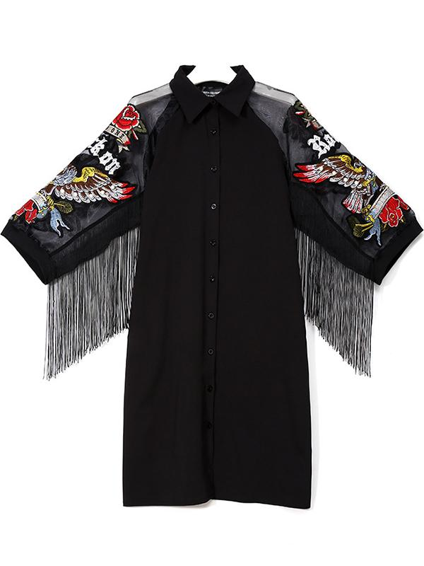 Eagle Embroidery Fringed Dress