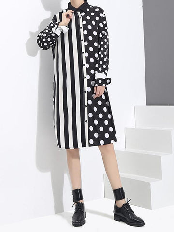 Stripe And Polka Dot Stitching Shirt Dress