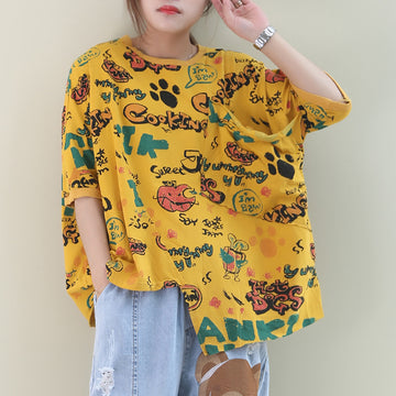 Irregular Hem Cartoon Letter Print Cotton T-shirt
