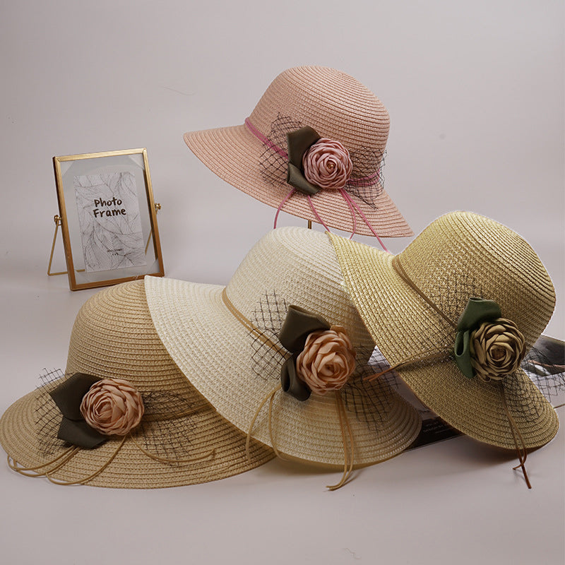 Summer Flower Straw Bucket Hat