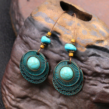 Retro Women Turquoise  Circle Earrings