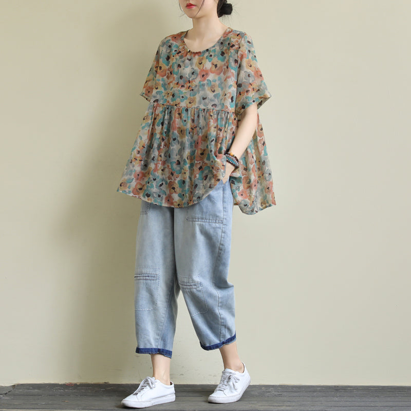 Printed Summer Patchwork Pleated Women Loose T-shirt